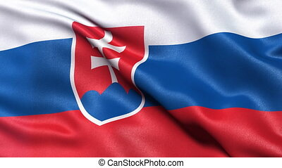 Slovakia flag seamless loop - Realistic flag of Slovakia...