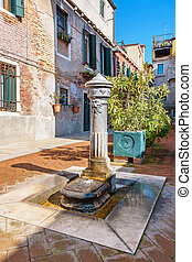 Street tap. Venice, Italy - Lion head water tap on the...