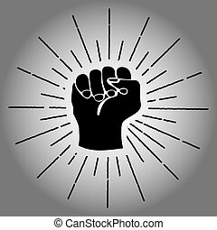 Clenched fist silhouette - a clenched fist slhouette with...