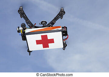 Drone transporting medical supplies - UAV drone quadrocopter...