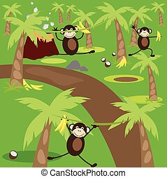 Three monkey playing in the jungle.