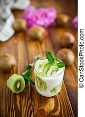 Greek yogurt with kiwi in a glass
