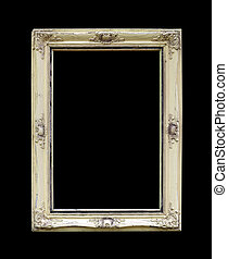Old picture frame isolated on black