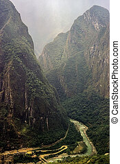 Urubamba Valley with river and railroad in Peru