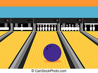 Bowling Ball on Lane Illustration - Vibrant colored...