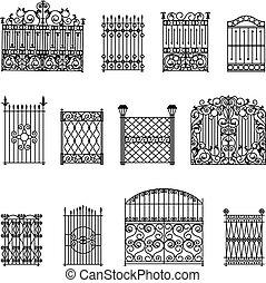 Decorative Fences Set - Decorative black white fences set...