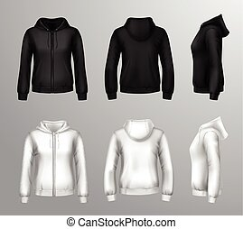 Women Black And White Hooded Sweatshirts - Realistic black...