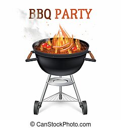 Portable Barbecue Grill Illustration - Portable barbecue...