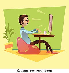 Programmer Working Illustration - Programmer working with...