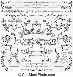 Hand Drawn Floral Design Elements, Ribbons, Dividers - Hand...