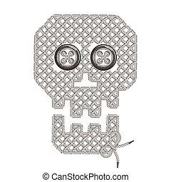 tejer, cráneo, tejido, imagen, Ilustración, bordado,...