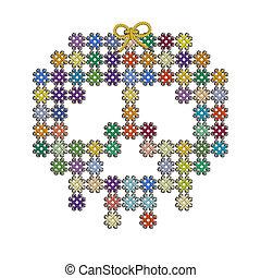 tejer, cráneo, tejido, Color, imagen, Ilustración, bordado,...