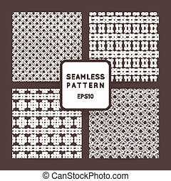 Set of vector seamless patterns with crossed and braided...