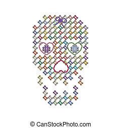 tejer, tejido, Color, imagen, Ilustración, bordado, cráneo,...