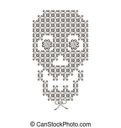tejido, cráneo, imagen, Ilustración, bordado, tejer, macrame...