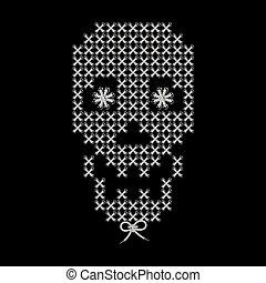 decorativo, tejido, cráneo, imagen, Ilustración, bordado,...