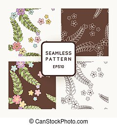 Set of vector seamless patterns with Japanese flowers.