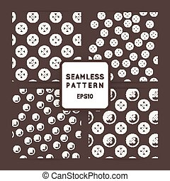 Set of vector seamless patterns with buttons.