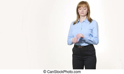 corrects cuff. girl in pants and blous. Isolated on white...