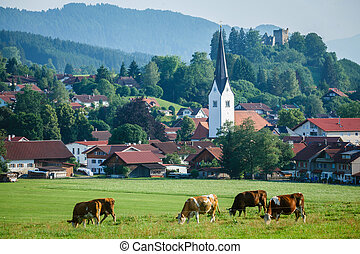 Alpine village landscape - Alpine village at the foot of the...