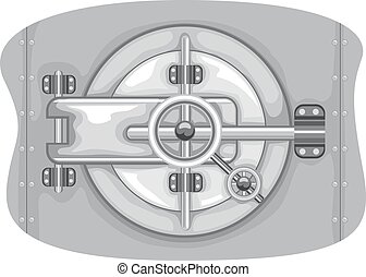 Bank Vault Lock - Illustration of a Bank Vault with the Lock...