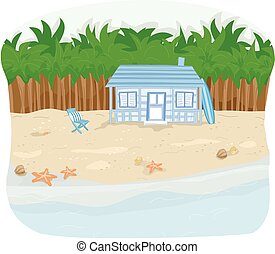 Beachfront Cabin - Illustration of a Beachfront Cabin with...
