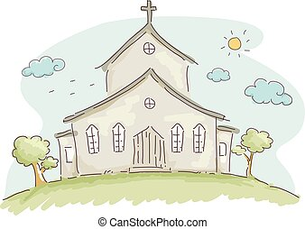 Church Doodle - Doodle Illustration of the Facade of a...