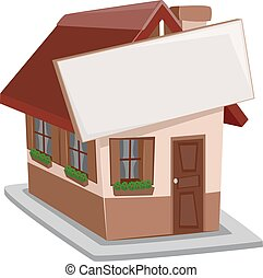 Single Detached House Sign - Illustration of a Single...