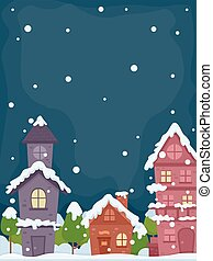 Snow Village Night - Illustration of a Village on a Peaceful...