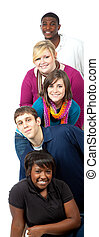 Multi-racial college students on a white background - A...