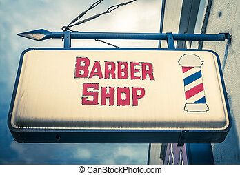 Vintage Barber Shop Sign - Retro Red And White Vintage...