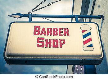 Vintage Barber Shop Sign - Retro Red And White Vintage...