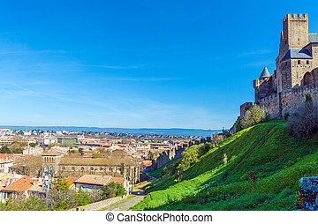 Famous Medieval Castle Carcassonne - Outside view of...