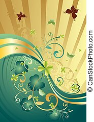 Gold and Green Shamrock Background - Decorative gold and...