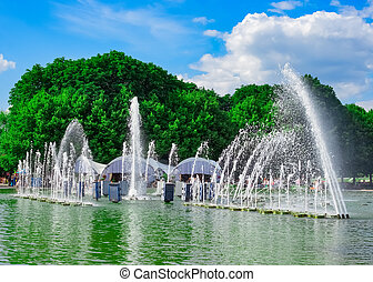 Fountain in Gorky Park on summer day, Moscow, Russia, East...