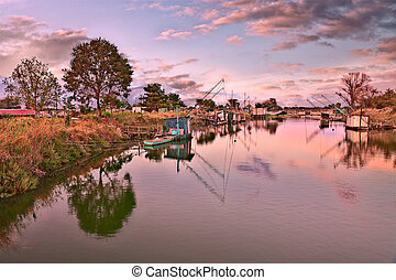 wetland in Comacchio, Ferrara, Italy - landscape at sunset...
