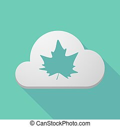 Long shadow cloud icon with an autumn leaf tree