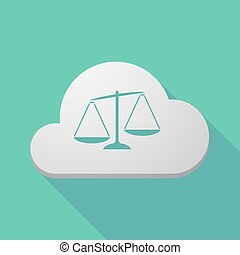 Long shadow cloud icon with an unbalanced weight scale -...