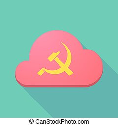 Long shadow cloud icon with the communist symbol -...