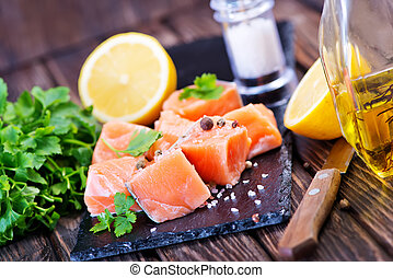 red salmon with fresh parsley and spice
