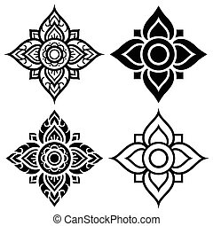 Thai folk art pattern - flower - Vector Thai background in...