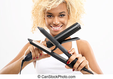 Laying hair straightener or curling