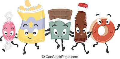 Junk Food Group Mascots - Mascot Illustration Featuring a...