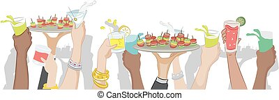 Cocktail Party Border - Cropped Illustration of a Cocktail...