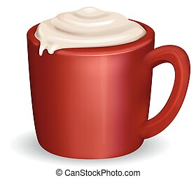 Coffee Cappuccino Overflow - Illustration of a Cup of Coffee...