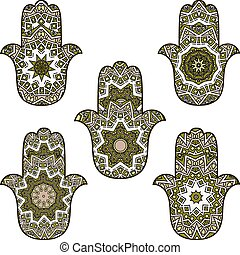 set of bright green khamsa - Set of hamsot in dark green and...