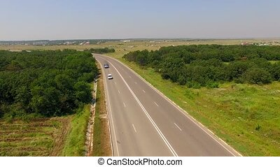 Several Cars Driving On Country Freeway - AERIAL VIEW Slowly...