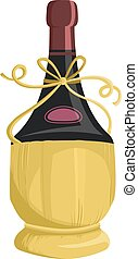 Wine Fiasco Basket Packaging - Illustration of a Bottle of...