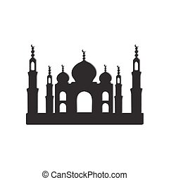 Taj Mahal temple icons - Temple Taj Mahal black and white...