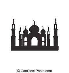 Taj Mahal temple icons - Temple Taj Mahal black and white...